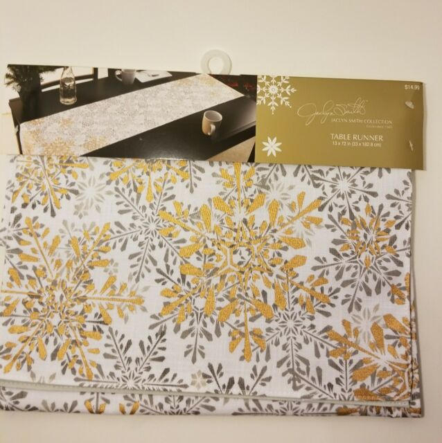 Christmas Holiday Gold Snowflake Table Topper Winter Table Runner