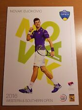 NOVAK DJOKOVIC 5X7 2016 WESTERN & SOUTHERN ATP TENNIS TOURNAMENT COLLECTOR CARD