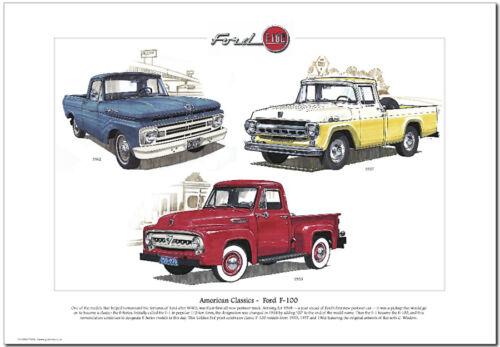 FORD F-100 Fine Art Print A3 size American Classics US Pickup /'53 /'57 /& /'62