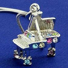 Piano w Swarovski Crystal Multi Color Music 3D Grand Piano New Pendant Necklace