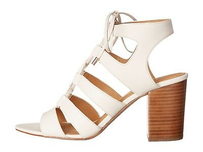 "Coach Women's Larissa Gladiator Sandals Leather Shoes 3"" Chalk Semi Matte Size 9"