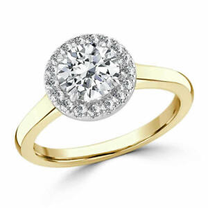 1.35 Ct Round Cut Real Moissanite Anniversary Ring 14K Solid Yellow Gold Size 7