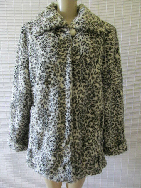 DENNIS BY DENNIS BASSO ANIMAL PRINT LONG SLEEVE FAUX FUR COAT SIZE M - NWT