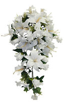 White Roses Lilies Cascade Bridal Bouquet Silk Wedding Flowers Arch Decorations