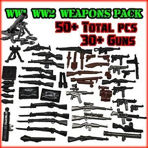 Custom 50pc WW2 ARMI Pack per adattarsi LEGO ® MINI FIGURES Inc. PISTOLE + MISCHIA IN ARMI