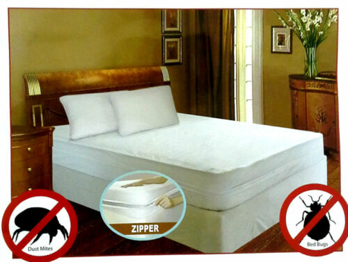 Bed Bug Allergy Relief Waterproof Zippered Vinyl Mattress Cover//Protector 4 Size