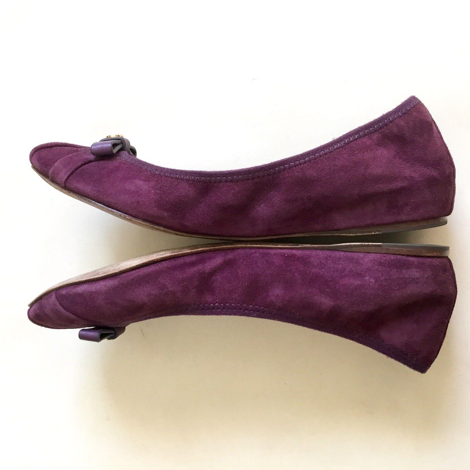 Tory Burch Damenschuhe Purple Flats Suede Leder Bow Ballet Flats Purple Schuhes Größe 7M Pleated 1ce1cc