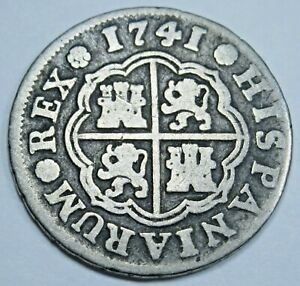 1741-Spanish-Silver-1-Reales-Antique-1700s-Colonial-Cross-Pirate-Treasure-Coin