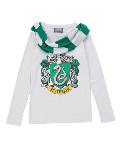 Harry Potter Tee Shirt Top House Slytherin Green Scarf long Sleeve Cotton Sz L