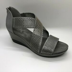 Anne-Klein-Women-039-s-Pebbles-Wedge-Sandal-Pewter-Size-7-5