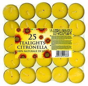 25 x CITRONELLA TEALIGHT TEA LIGHT FRAGRANCED GARDEN CANDLES LEMON