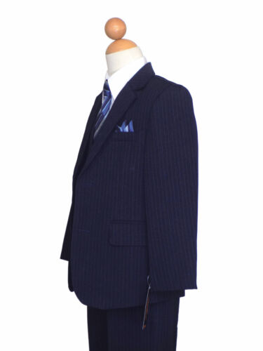 NAVY BLUE//WHITE Size BOYS RECITAL,GRADUATION 2T to 16 PINSTRIPE SUIT