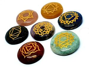 Carved-Chakra-Stone-Set-Engraved-Healing-Reiki-Energy-Charged-With-Pouch