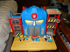 Rescue Bots Optimus Prime Transformer Firehouse Fire Station Bumble Bee Lot