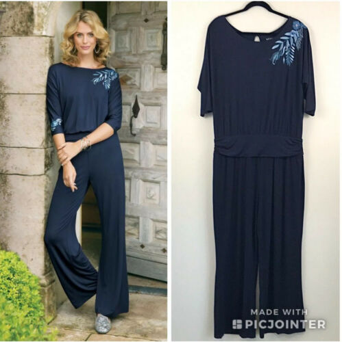Soft Surroundings Garbo Jumpsuit Blue Embroidered