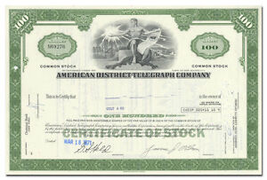 Details About American District Telegraph Company Adt Stock Certificate