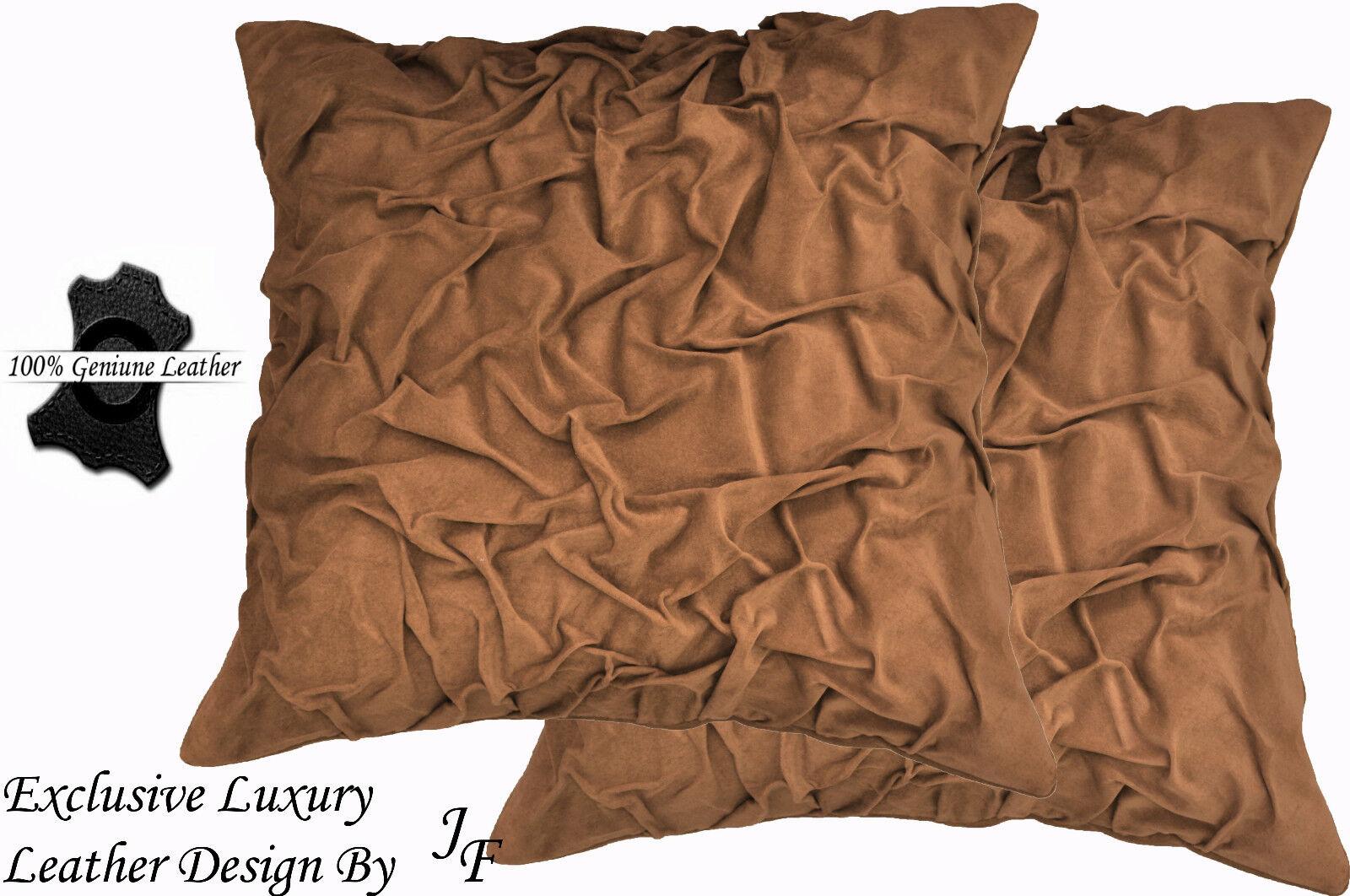 2x Lujo Exclusivo GAMUZA genuinas Beige precioso Cojín diseño Grande Beige genuinas a547c4