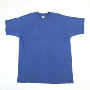 Vtg-Fruit-of-the-Loom-Blank-T-Shirt-XL-Single-Stitch-USA-90s-Grunge-Faded-Blue