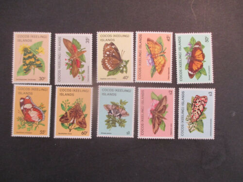 31982 COCOS ISLANDBUTTERFLYS & MOTHS 10 STAMP ISSUES MNH MINTA1