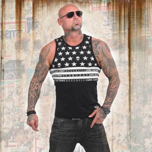 Schwarz Neues Yakuza Herren Skulls N Stripes Tank Top T-Shirt