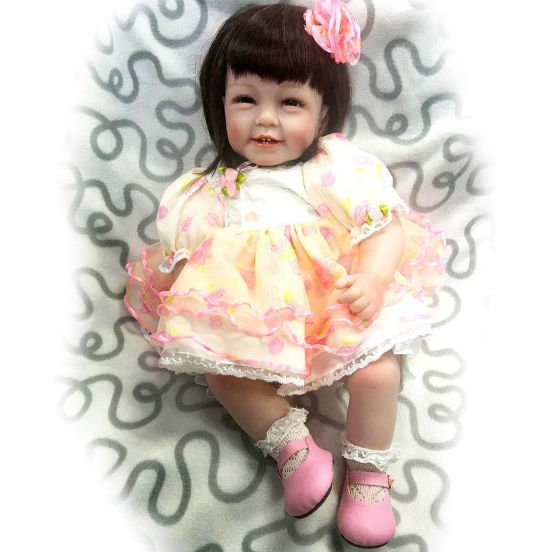 22''smile Girl Doll Toddler Reborn Lifelike Soft Baby Silicone Newborn Xmas Gift