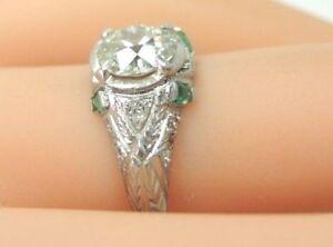Antique-Art-Deco-Vintage-Diamond-Engagement-Platinum-EGL-USA-Ring-Size-6-25-UK-M
