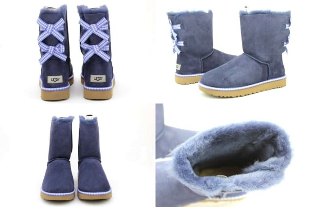 5878e2f3ee3 UGG Bailey Bow Gingham Navy Blue Suede Sheepskin BOOTS Size 10 US Super RARE