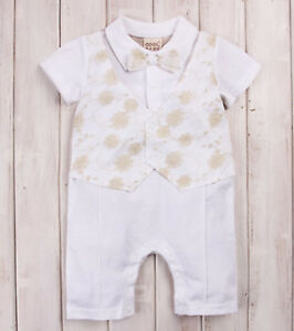 Boy-Kid-Baby-Christening-Wedding-Party-Bowtie-Romper-Bodysuit-Outfits-Suits