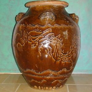 Chinese Antique Ceramic Pottery Huge Dark Brown Glazed Jar Dragon Amp 5 Foo Dogs Ebay