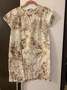 ZARA WOMAN - Linen Kleid - Blumen Muster - Beige/Braun ...