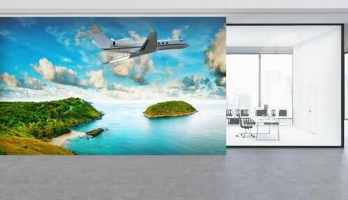 Details about  /3D Island Aircraft R30 Transport Wallpaper Mural Sefl-adhesive Removable Zoe