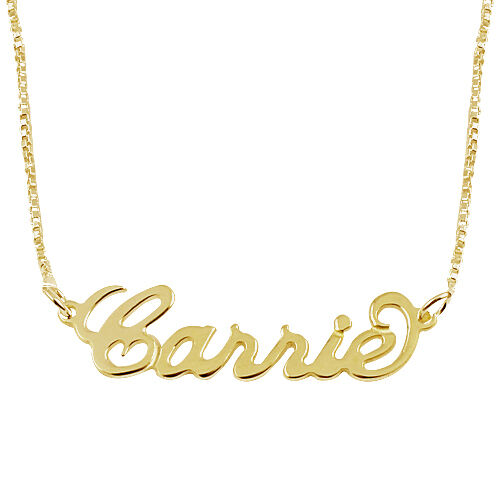 "14K Gold Double Thickness ""Carrie"" Style Name Necklace Pendant ENGLISH 013090"