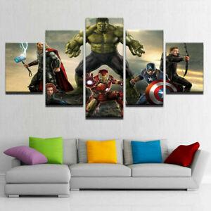 Marvel Avengers Superhero Kids Room Decor Canvas Prints Painting Wall Art 5pcs Ebay