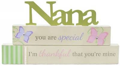 """NEW """"NANA"""" WOODEN SIGN CUTOUT TABLE TOP STAND SHABBY CHIC BUTTERFLY 30*24CM"""