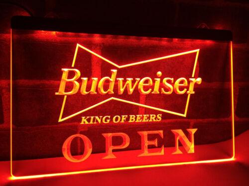 OPEN Budweiser King Bier Bar Club Leuchtreklame Neonzeichen Leuchtschild Leuchte