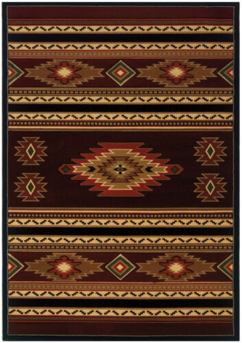 Southwestern Lodge Cabin Rustic Tribal Carved Plush Area Rug **FREE SHIPPING**