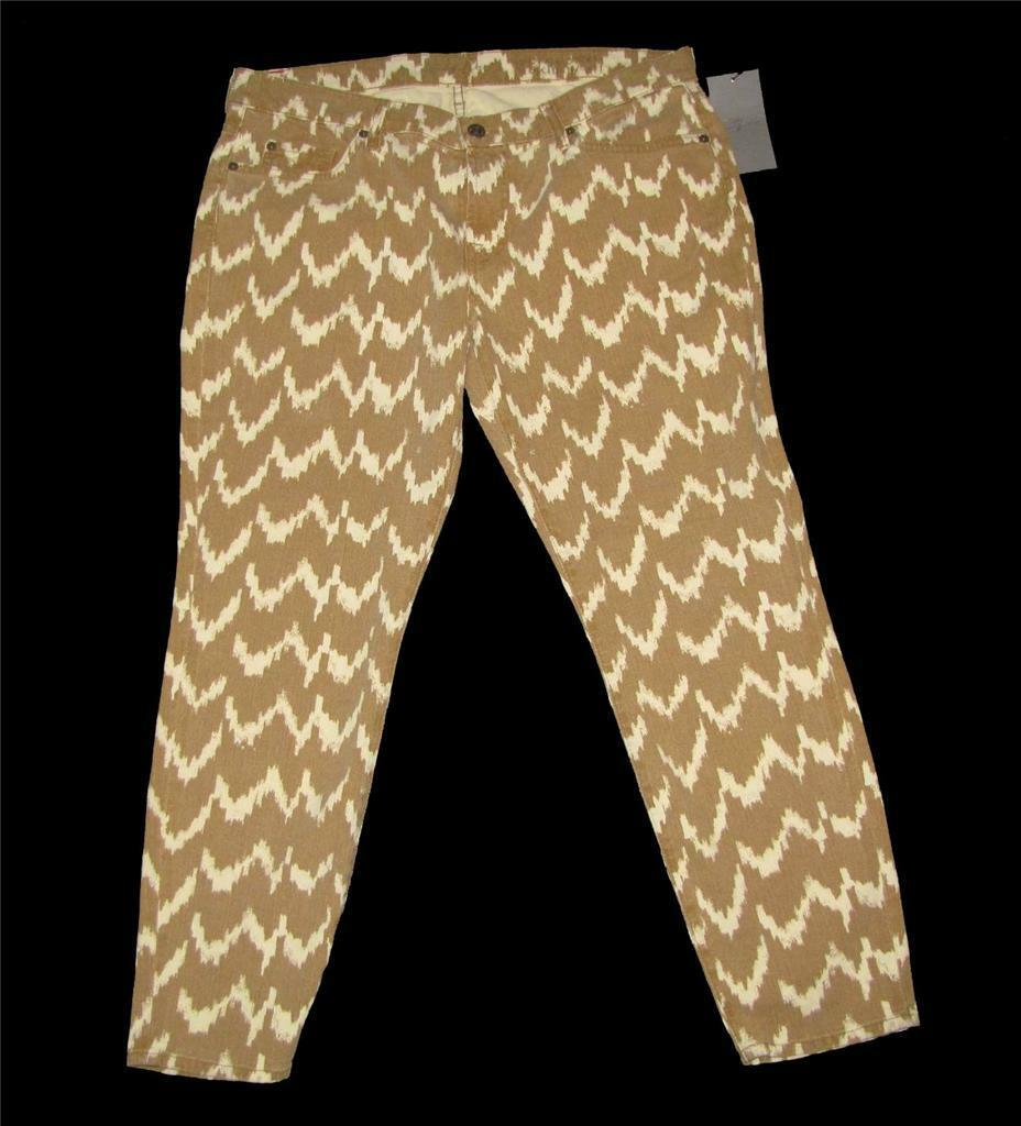 7 For All Mankind ZIG ZAG Khaki Tan Cropped Jeans NWT DISC MSRP  189 Wms 32