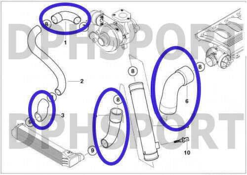 BMW E39 5 Serie 530d 525d Silicone COMPLETO Egr Intercooler Turbo Tubo Flessibile Kit