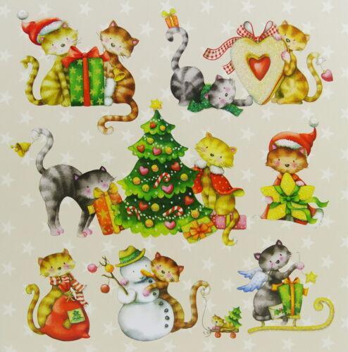 Nina Chen*Postkarte*14x14*Katze*Kätzchen*Sterne*Grußkarte*Glitzer*Weihnachten-2