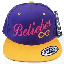 JUSTIN BIEBER SNAPBACK CAP HAT BELIEBER Believe **Purple/Gold** Infinite Ring