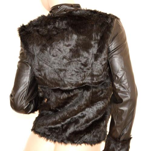 Veste G84 en S duvet noire fourrure L en cuir Veste M en femme Veste écologique 46gxt8P