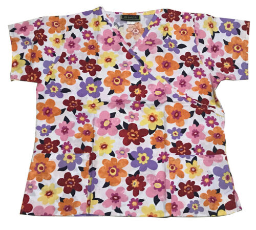 Women/'s Nursing Scrub Tops Printed Medical Uniforms Merry Flowers XL
