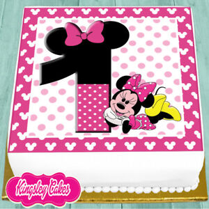 PRECUT EDIBLE ICING 75 INCH MINNIE MOUSE 1ST HAPPY BIRTHDAY CAKE