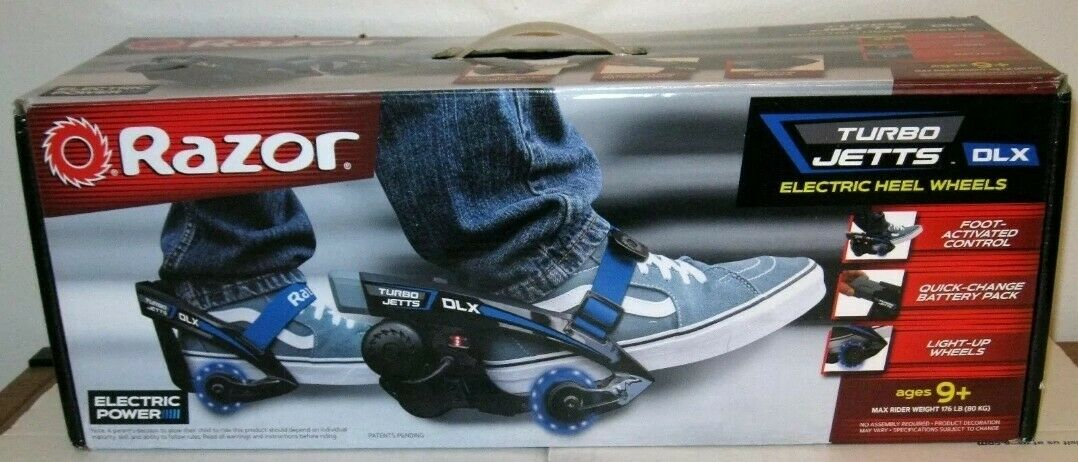 RAZOR TURBO JETTS  DLX ELECTRIC HEEL WHEELS blueE LIGHTED WHEELS AGES 9+  NEW   cheap store