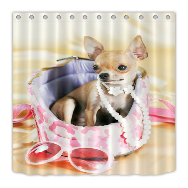Waterproof Fabric Funny Chihuahua Puppy Bathroom Decor Shower Curtain Bath Mat Hover To Zoom