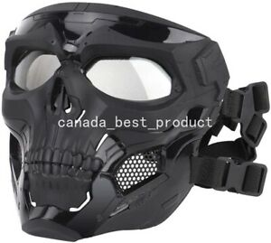 Tactical-Airsoft-Paintball-Cosplay-Halloween-Adjustable-Skull-Full-Face-Mask-BK