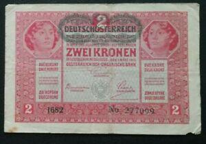 AUSTRIA  2 Kronen Banknote Wien 1917