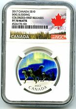 2017 $10 CANADA SILVER PROOF NGC PF70 DOG SLEDDING NORTHERN LIGHTS FIRST RELEASE