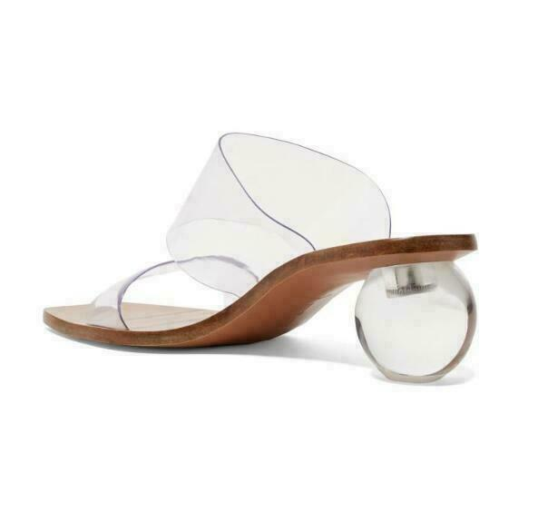 VOGUE Womens Hollow Mid Egg Heels Open Toe shoes Sandals Slippers Clear Loafers