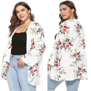 324f7f684f Details about Plus Size UK Womens Floral Cardigan Coat Ladies Long Sleeve  Casual Loose Jacket
